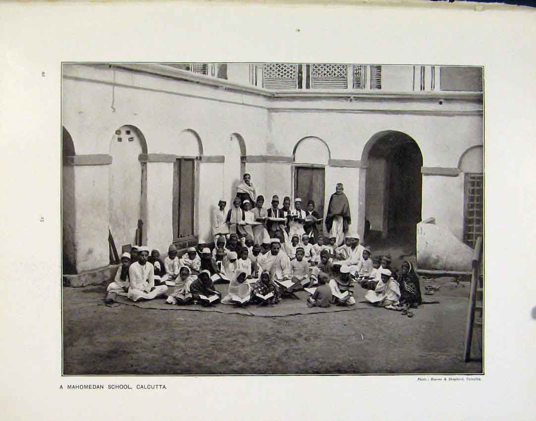 Print Mahomedan School Calcutta Dutch Children School Africa 25R8161 Old Original
