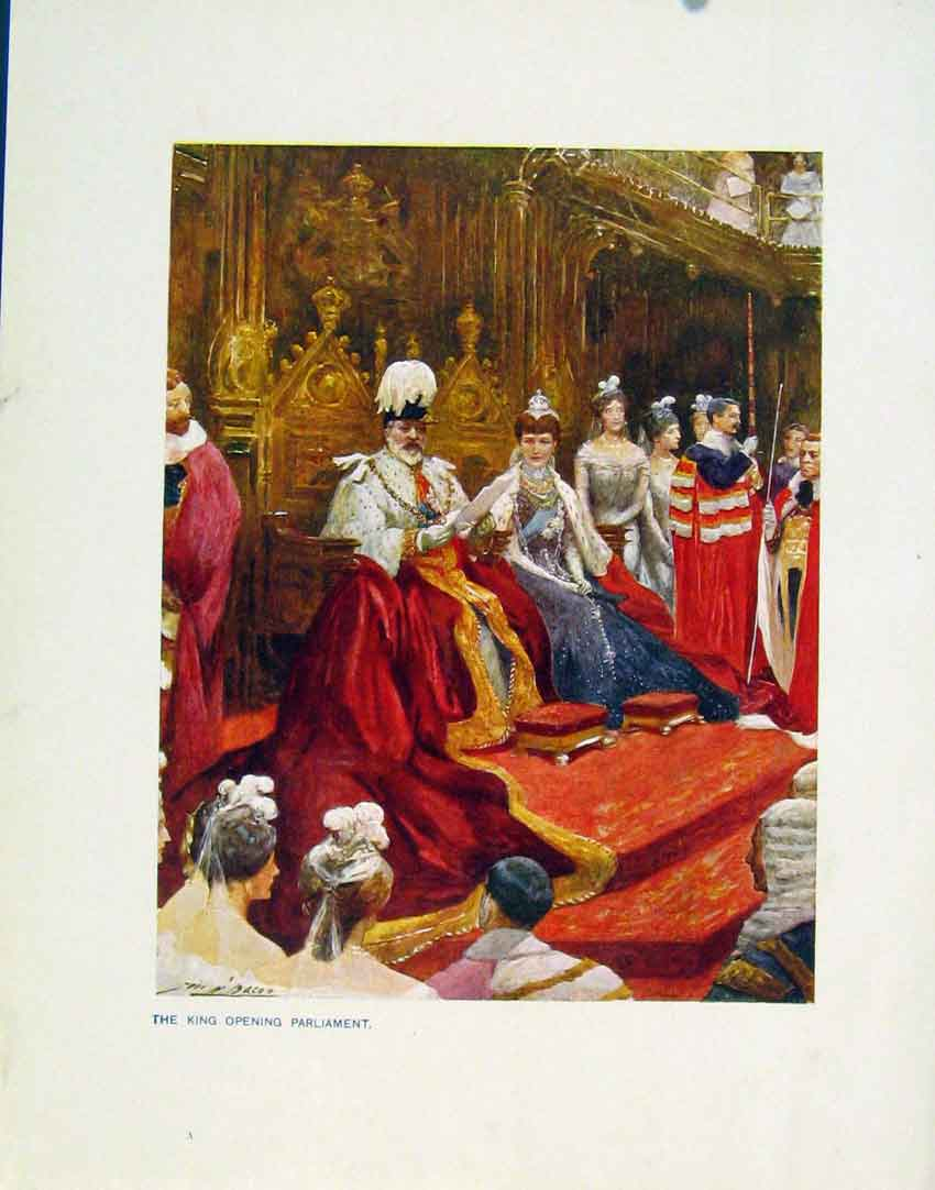 Print Colored Plate King Opening Parliament 018161 Old Original