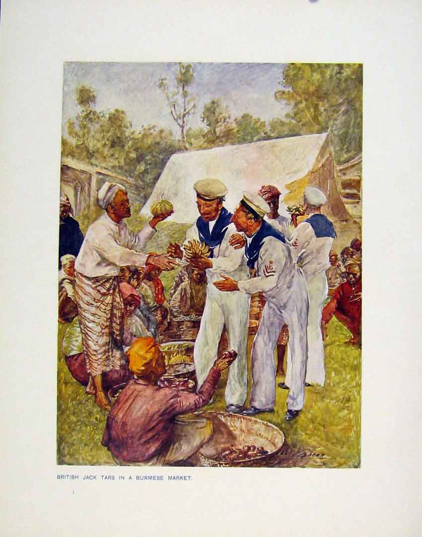 Print British Jack Tars Burmese Market Color Plate 088161 Old Original