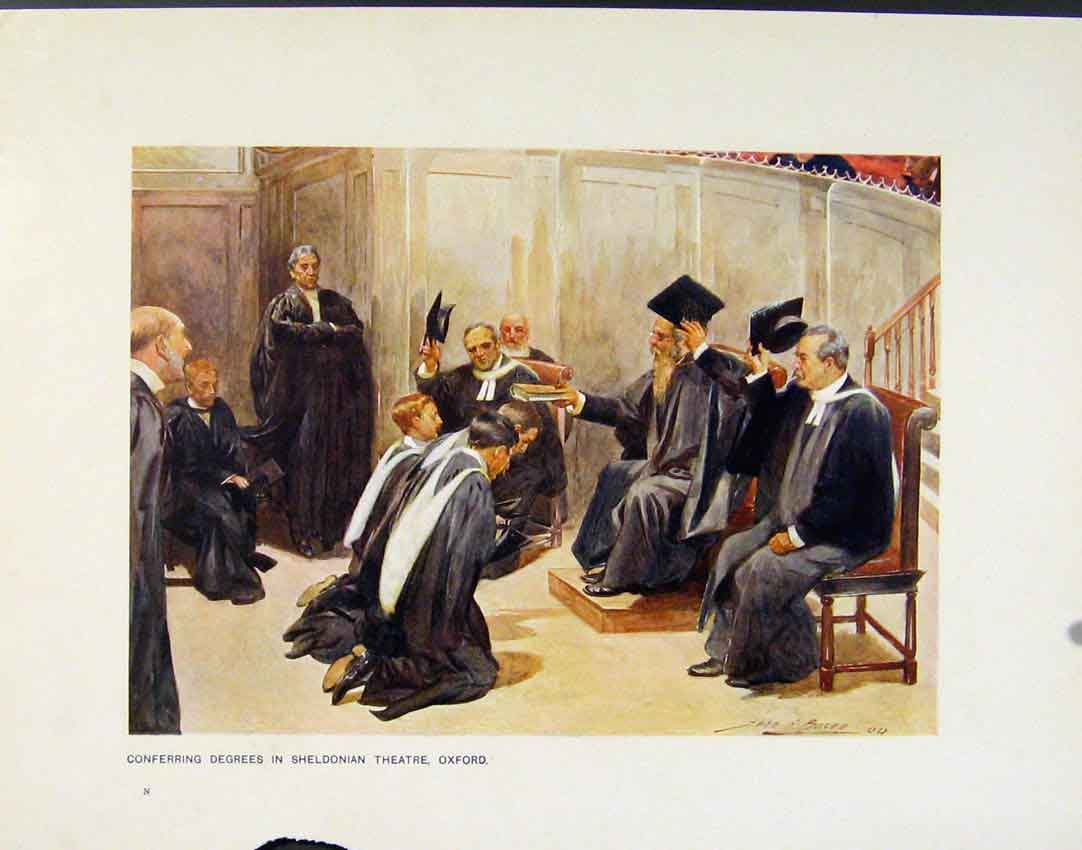 Print Conferring Degrees Sheldonian Theatre Oxford 138161 Old Original
