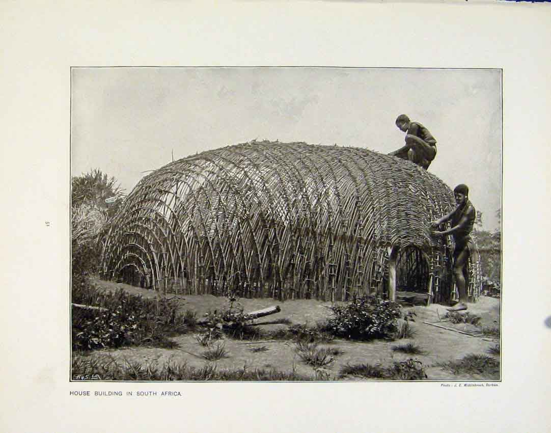 [Print Women Workers Cycle Factory House Building Africa 51R.8171 Old Original]