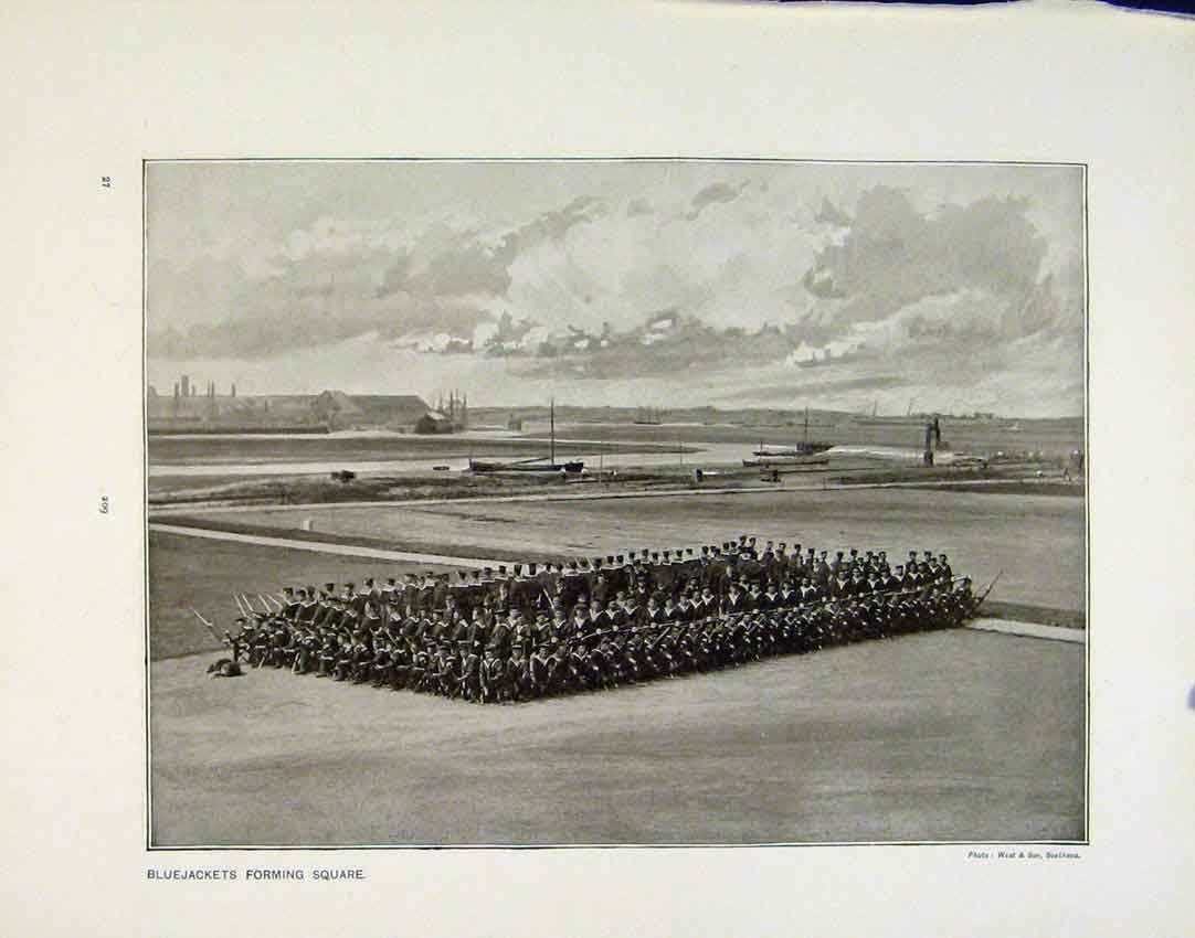 [Print Bluejackets Forming Square Men War Simons Bay Photo 09R.8171 Old Original]