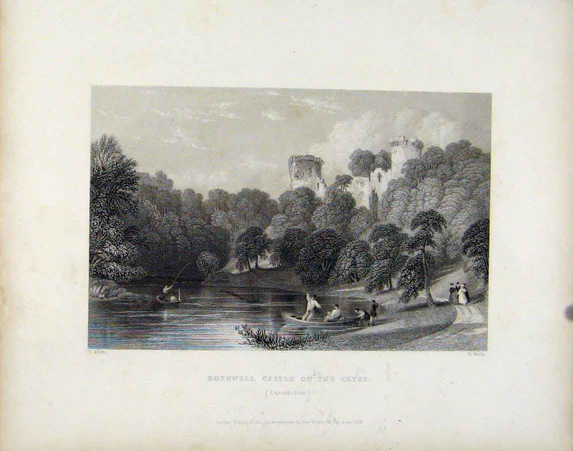Print Bothwell Castle On Clyde Lanarkshire Scotland 128181 Old Original