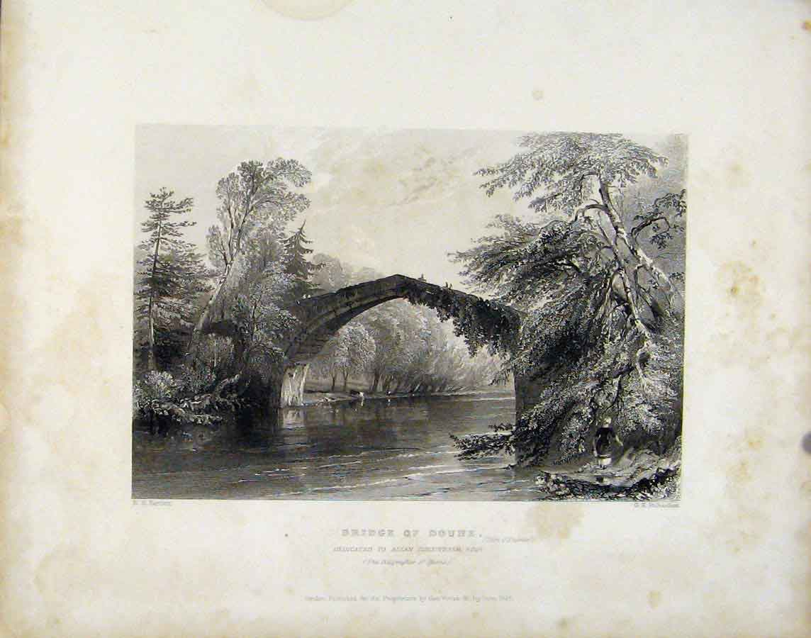 Print Bridge Doune Scotalnd Fine Art C1838 Art 208181 Old Original