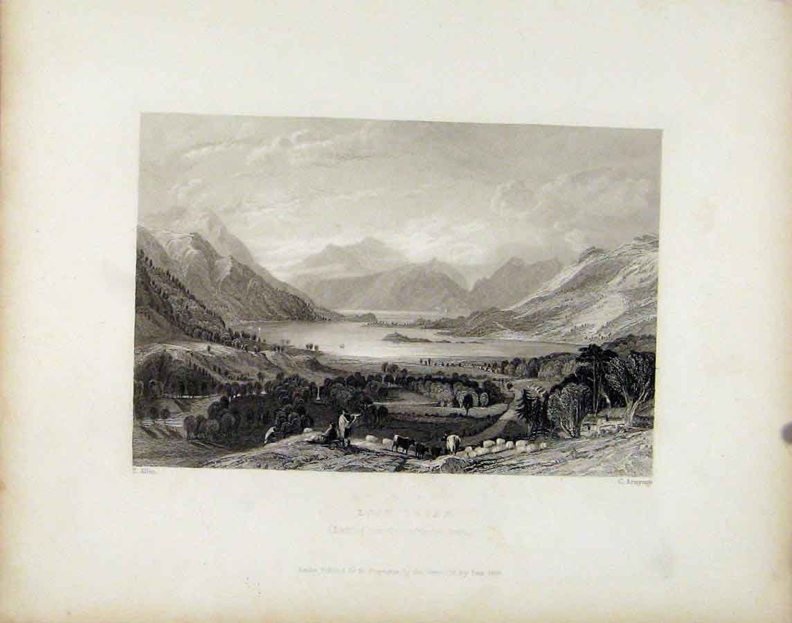 Print Loch Leven Scotland Fine Art C1839 448181 Old Original