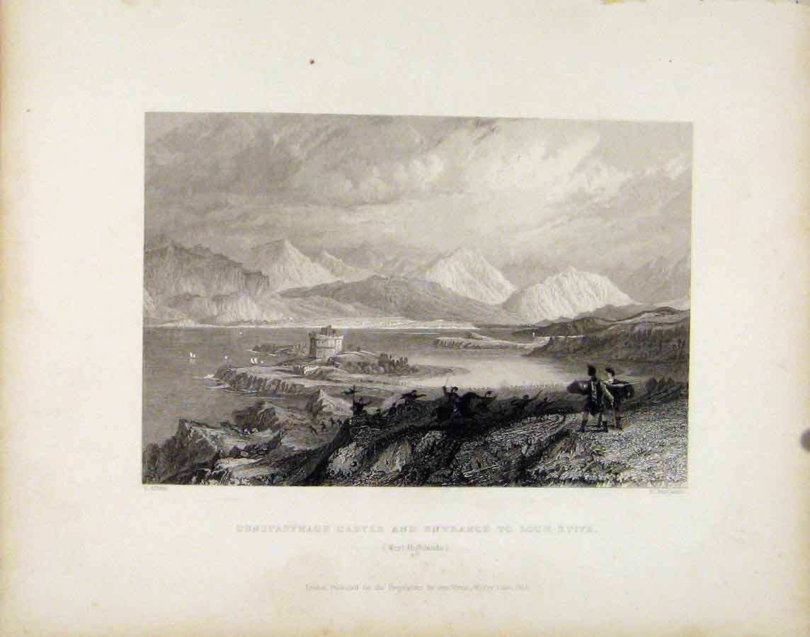Print Dunstaffnage Castle Entrance Loch Etive Scotland Art 498181 Old Original