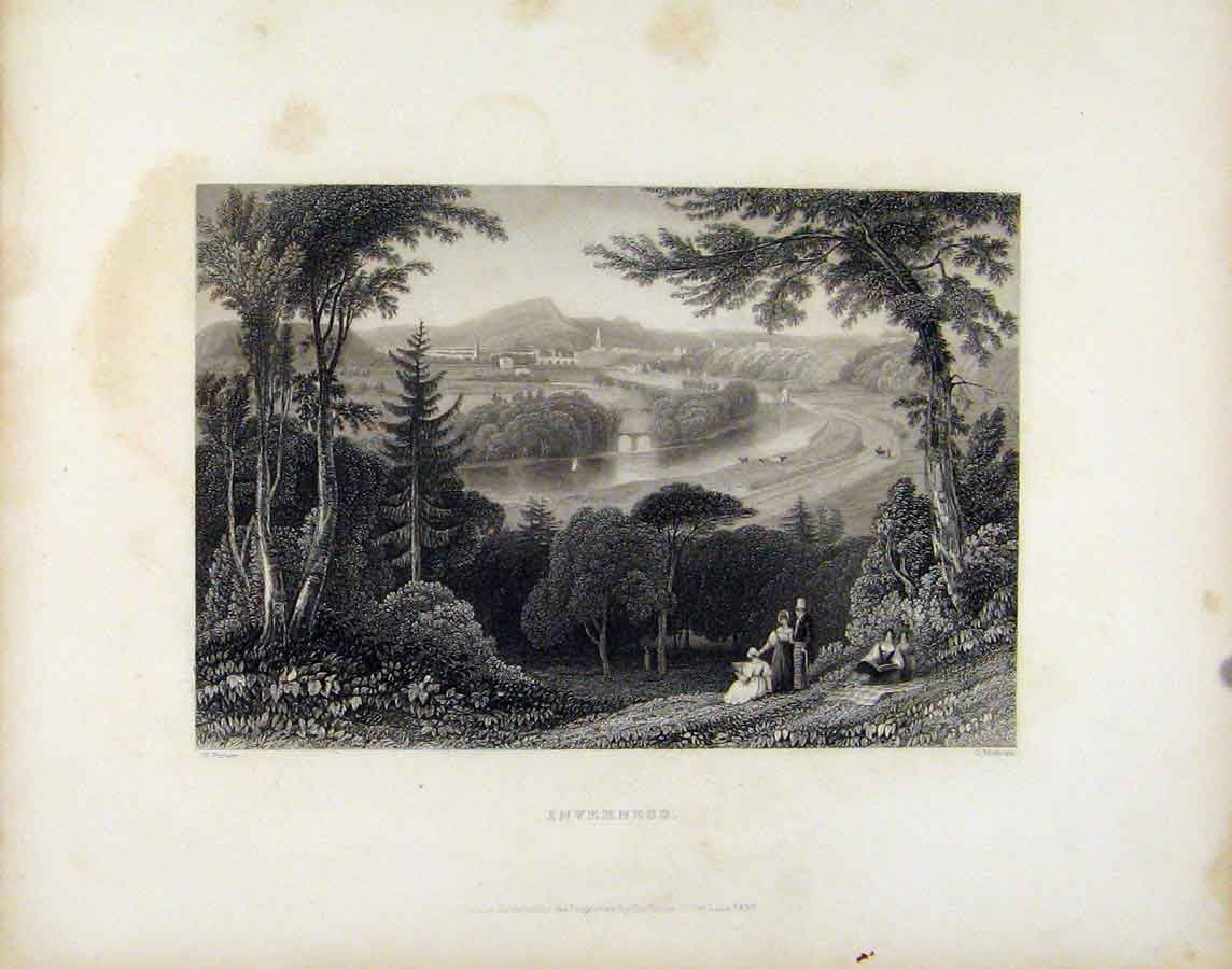 Print Inverness Town City C1839 Scotland Art 758181 Old Original