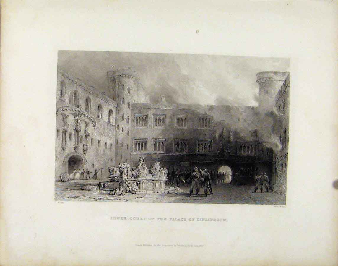 Print Inner Court Palace Linlithgow Scotland 998181 Old Original