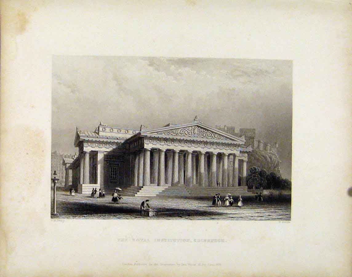 Print Royal Institution Edinburgh Scotland C1839 038181 Old Original