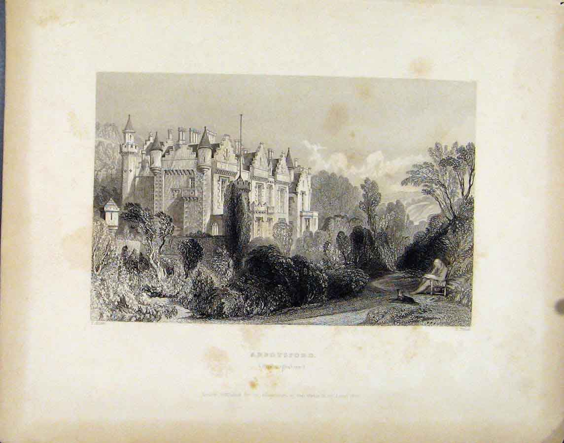 Print Scotland C1839 Abbotsford Roxburghshire 078181 Old Original