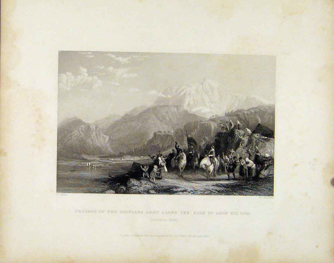 Print Fassage Highland Army Along Side Loch Eil C1745 Art 168181 Old Original