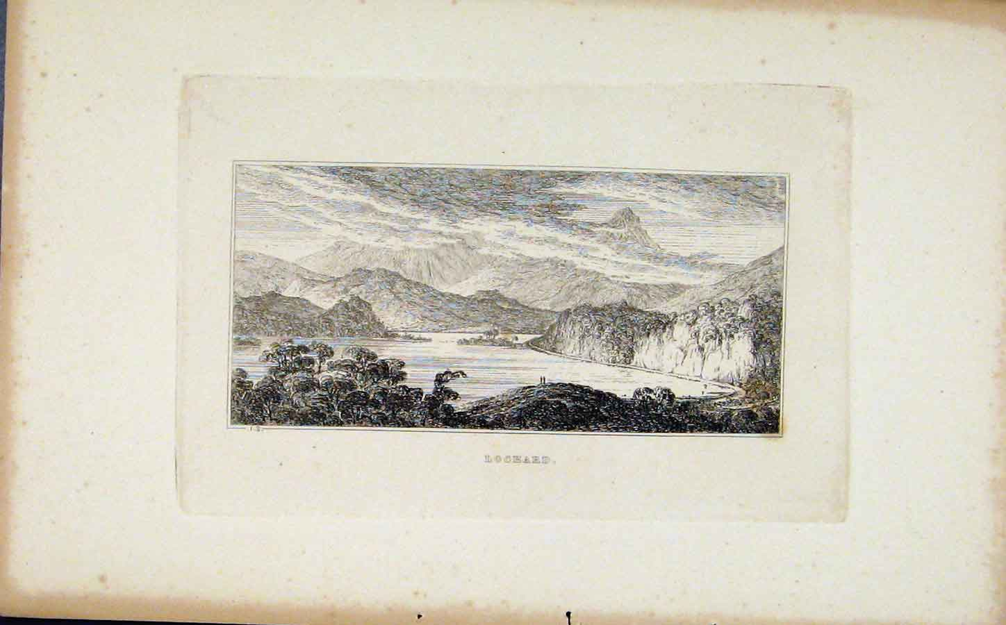 Print Lochard Etching Fine Art C1830 Sketch 028191 Old Original