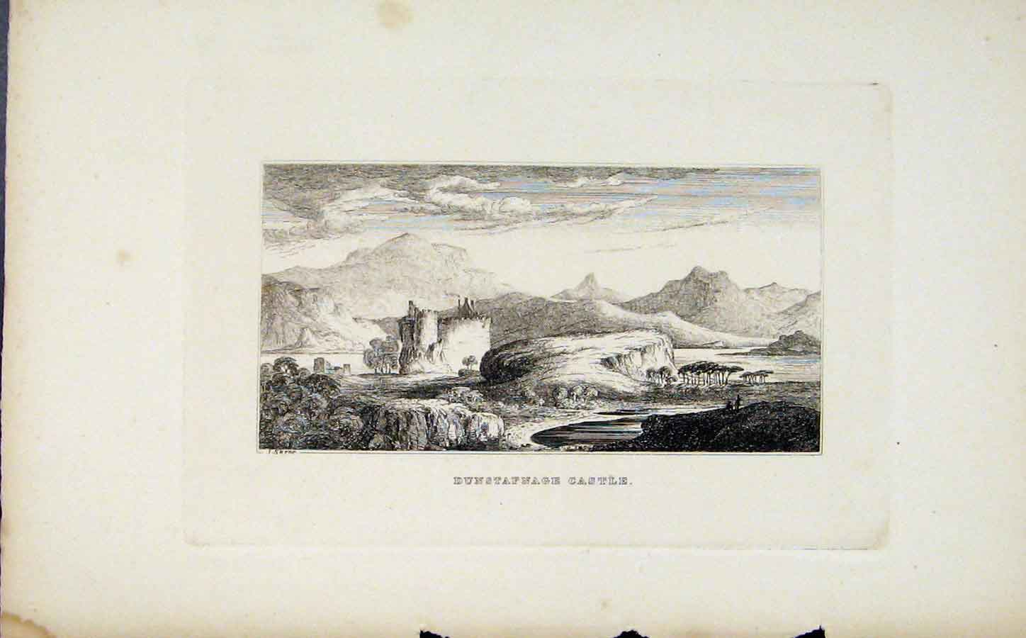 Print Etching C1830 Dunstafnage Castle Fine Art 158191 Old Original