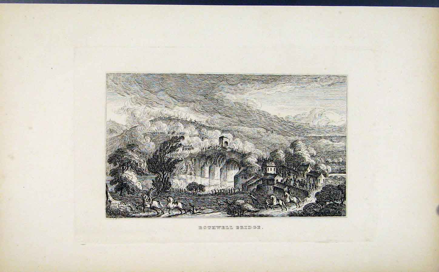 Print C1830 Etching Bothwell Bridge Fine Art 068191 Old Original