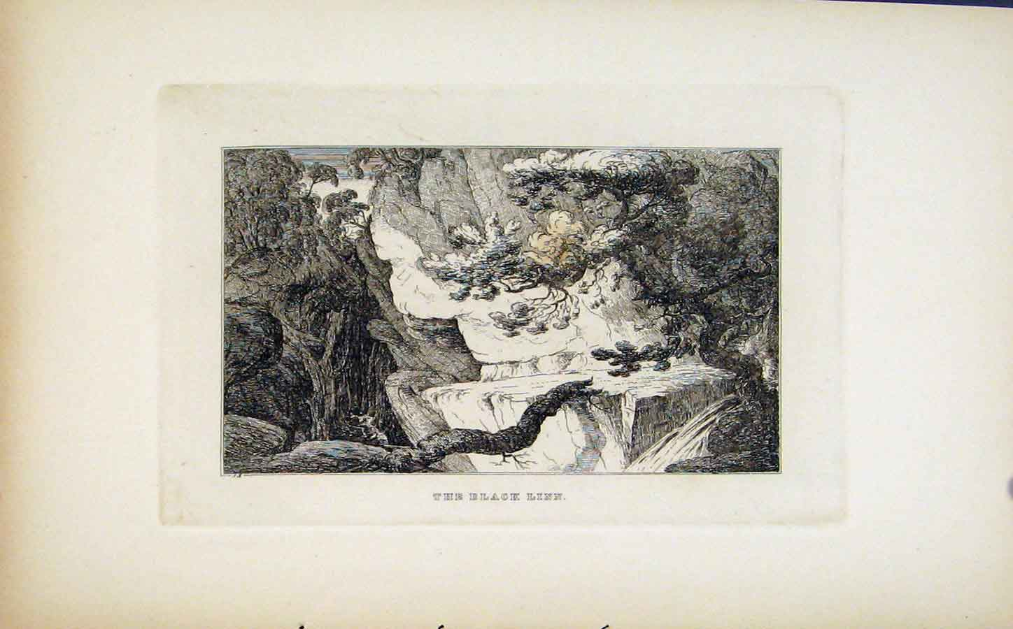 Print Etching Black Linn Fine Art C1830 078191 Old Original
