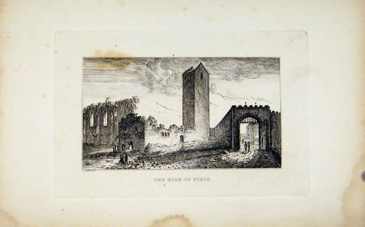 Print The Kirk Field Etching C1830 Fine Art 118191 Old Original