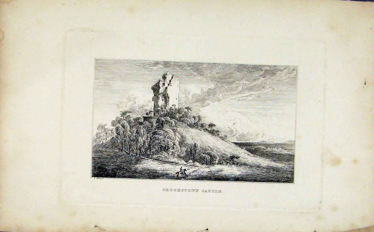 Print Crookstown Castle Etching C1830 Fine Art 148191 Old Original