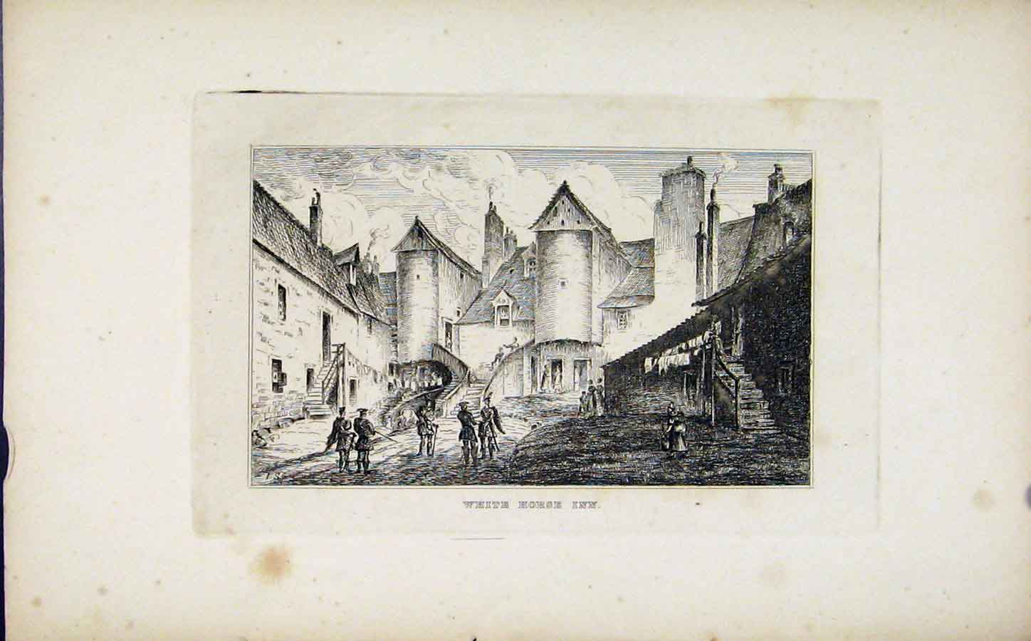 Print White Horse Inn Etching C1830 Fine Art 218191 Old Original
