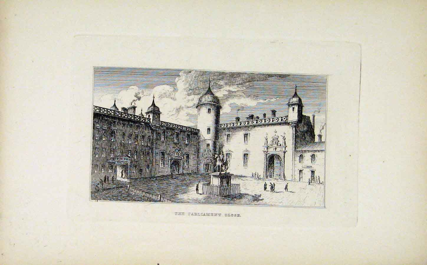 Print Etching C1830 Parliament Close Fine Art 268191 Old Original