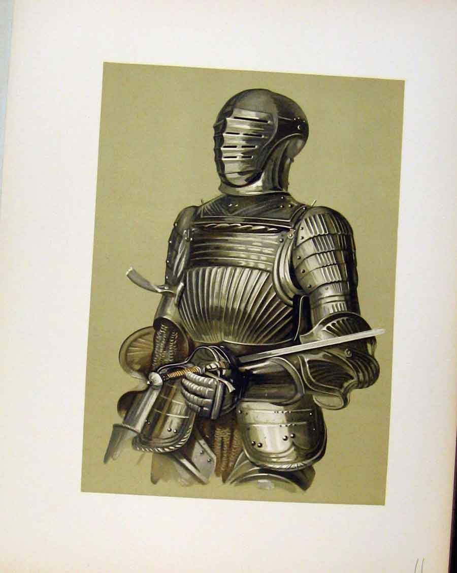 Print Enlarged Drawing Armour From Hall Door C1893 118201 Old Original