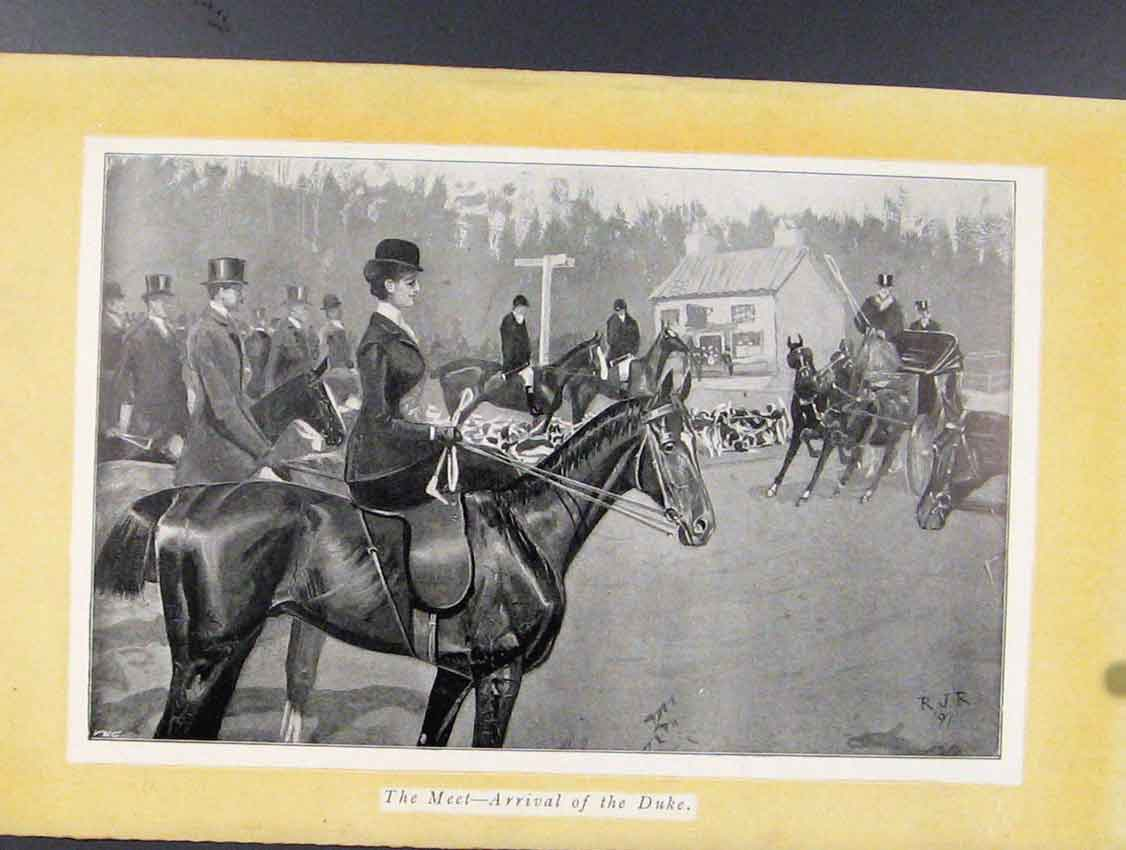 Print Meet Arrival Duke Horse Carriage Sketches 018211 Old Original