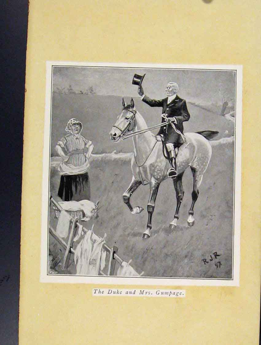 Print Duke And Mrs Gumpage Horse Rider Greeting 038211 Old Original