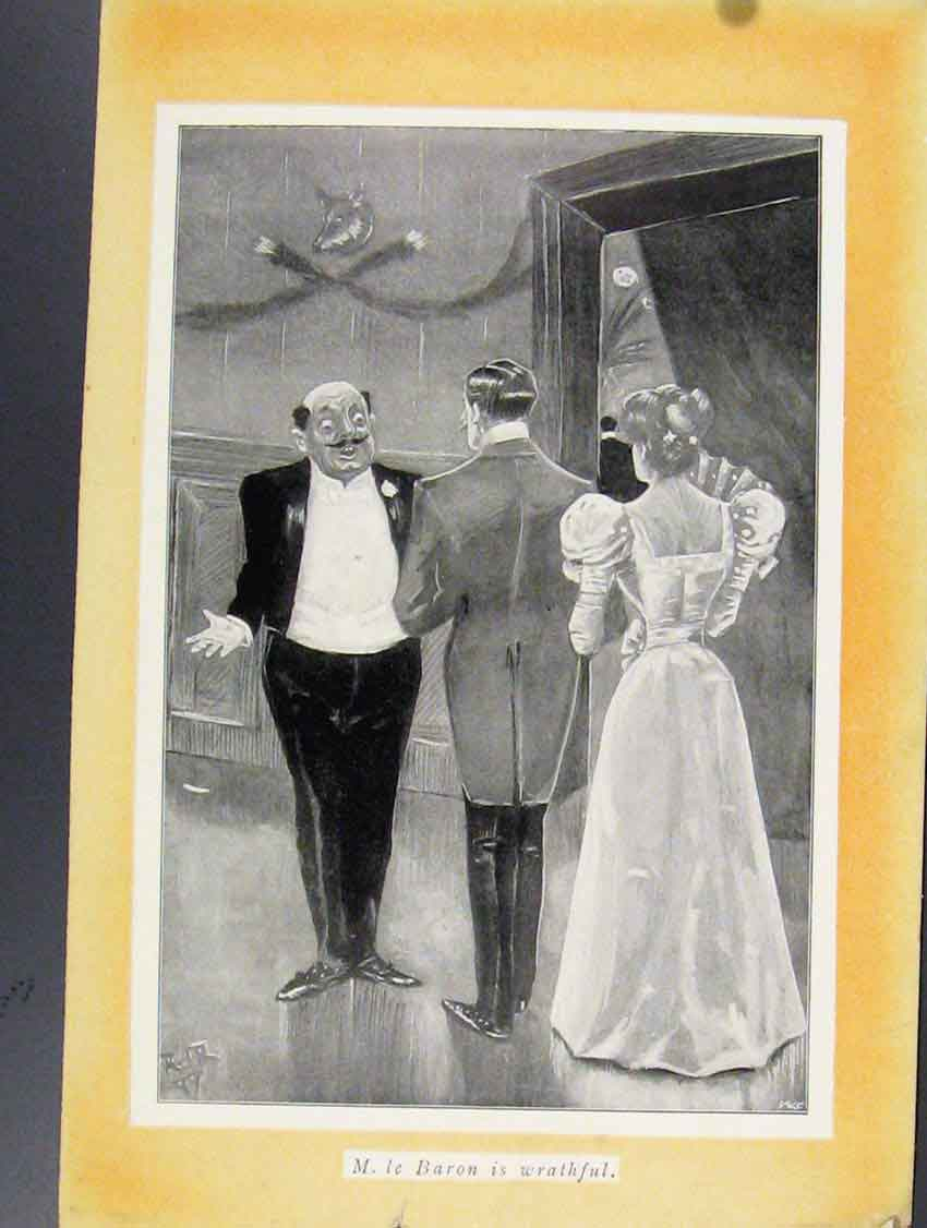 Print Le Baron Wrathful C1924 Sketches Social Ball 078211 Old Original