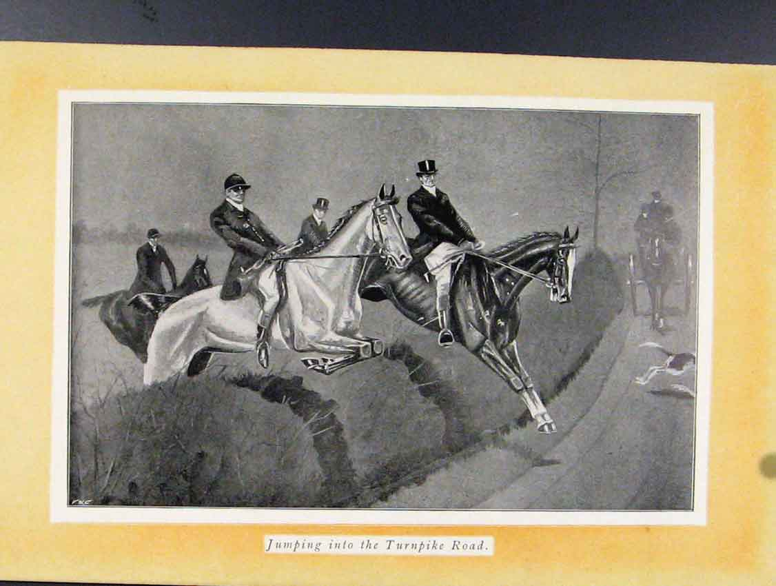 Print Jumping Into Turnpike Road Sketches Fox Hunting C1924 088211 Old Original