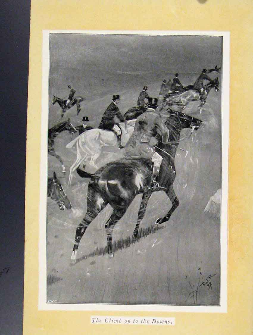 Print Climb On To The Downs Fox Hunting Sketches 098211 Old Original