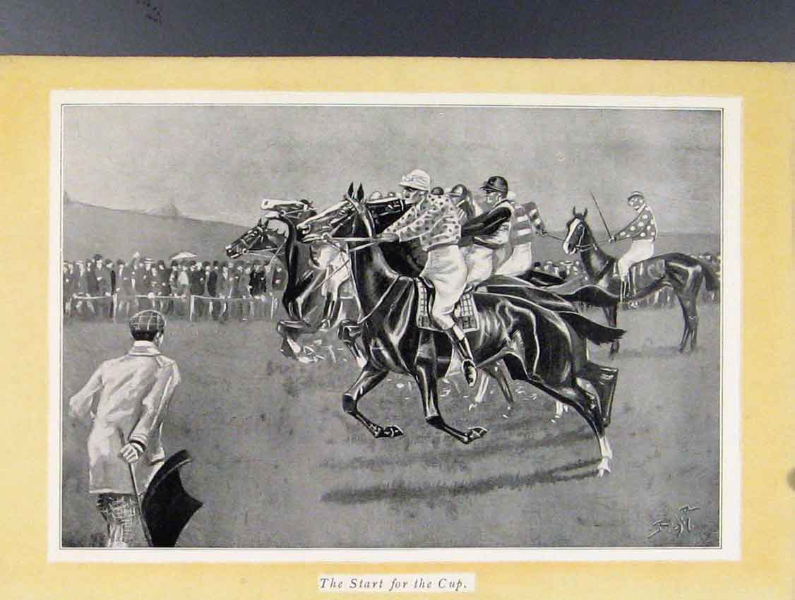 Print Start For The Cup Horse Racing Sketches 128211 Old Original