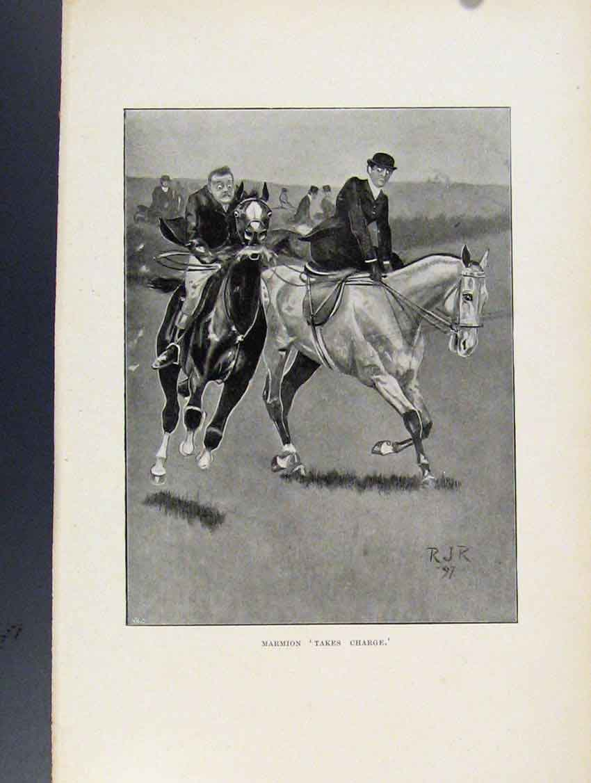 [Print Marmion Takes Charge Sketches Fox Hunting 168211 Old Original]