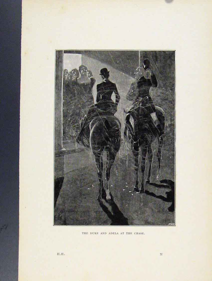 Print Duke Adela At The Chase Fox Hunting Sketches 218211 Old Original