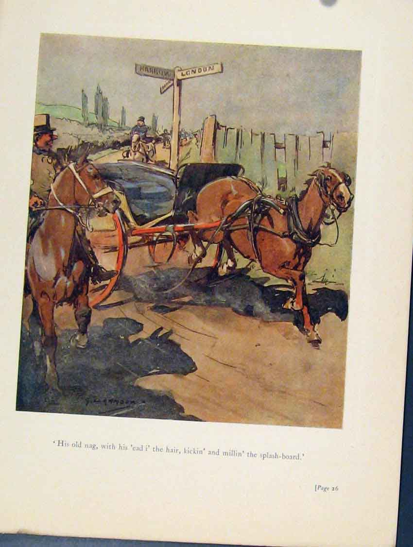 Print Horse Carriage On The Loose Sketches 048211 Old Original
