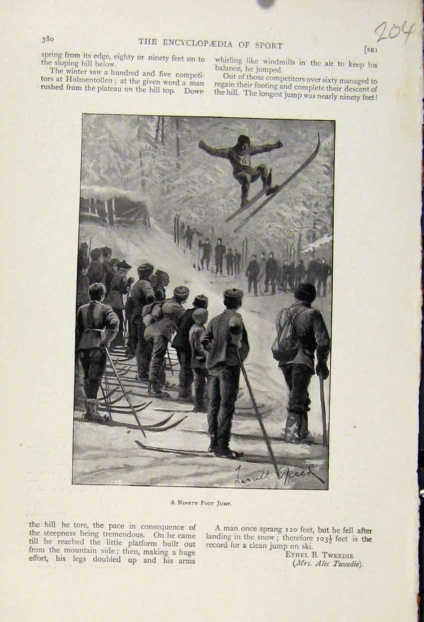 Print The Encyclopedia Sport Ninety Foot Jump Sking C1898 048241 Old Original