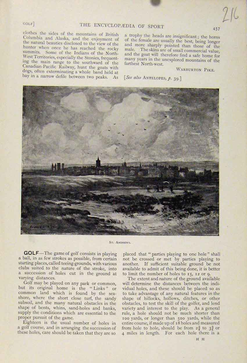 Print St Andrews The Encyclopedia Sport City Town 168241 Old Original
