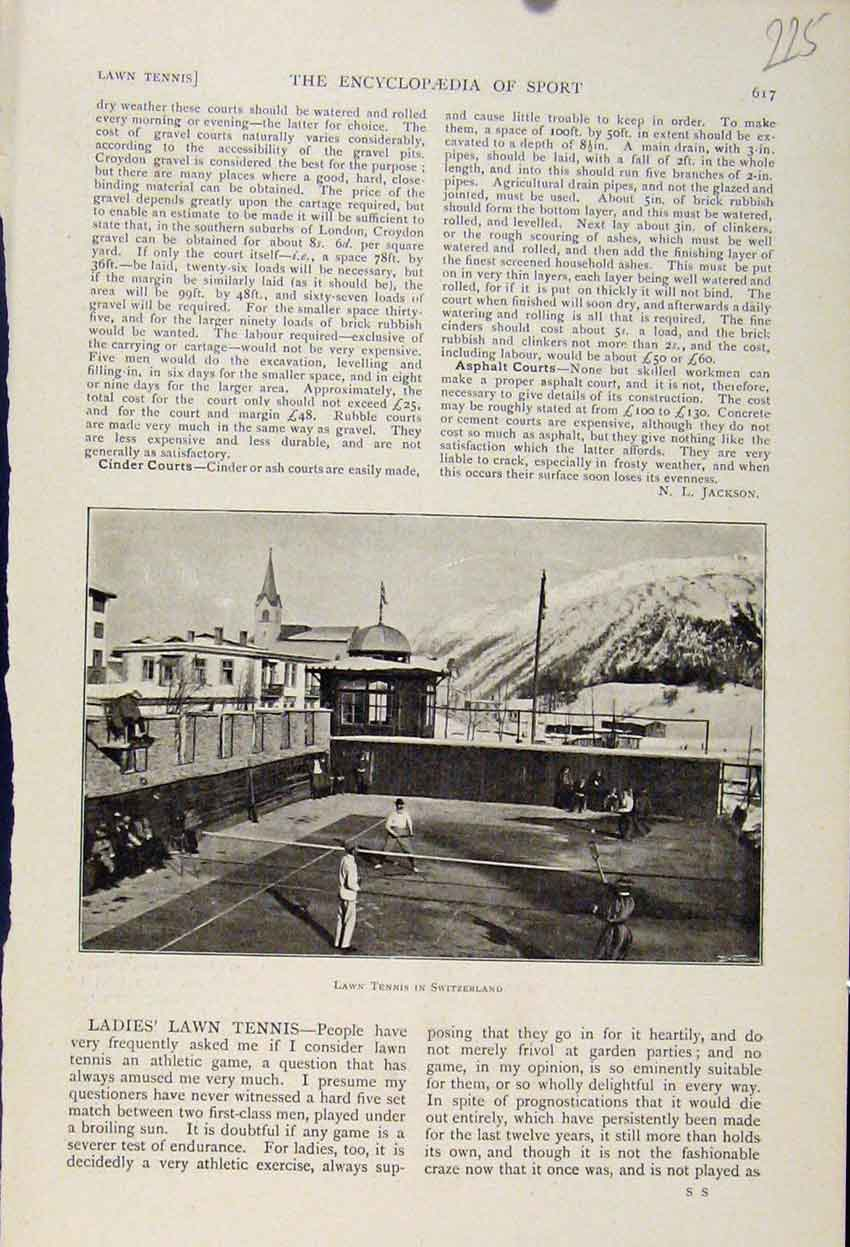 Print Lawn Tennis Switzerland C1898 The Encyclopedia Sport 258241 Old Original