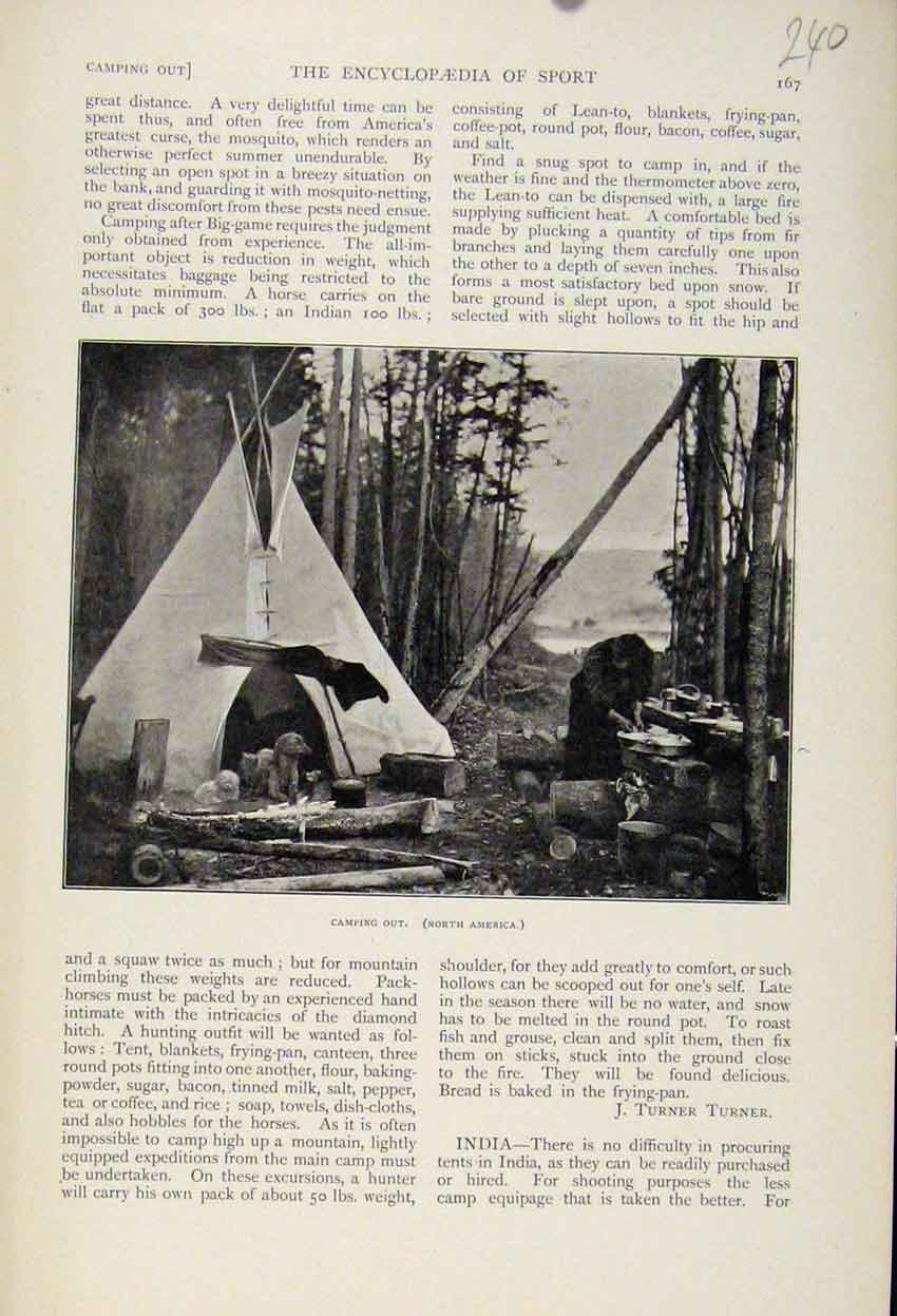 Print Camping Out North America The Encyclopedia Sport 408241 Old Original