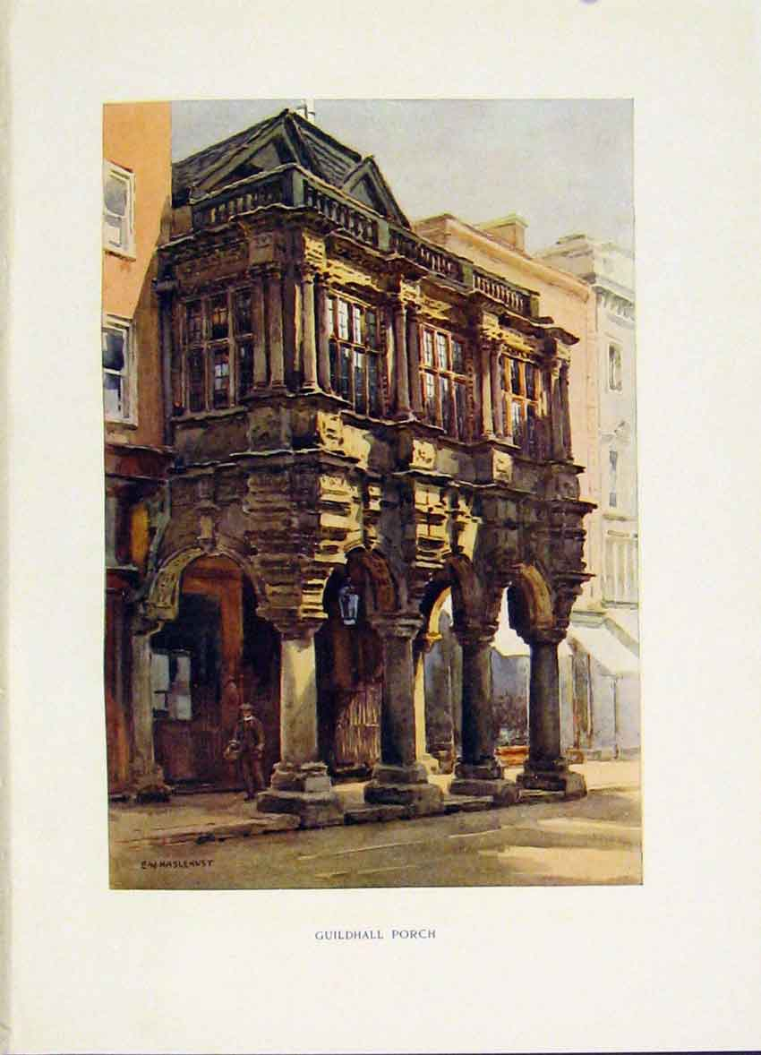 Print Guildhall Porch Exeter C1920 Painting By Haslehust Art 038251 Old Original