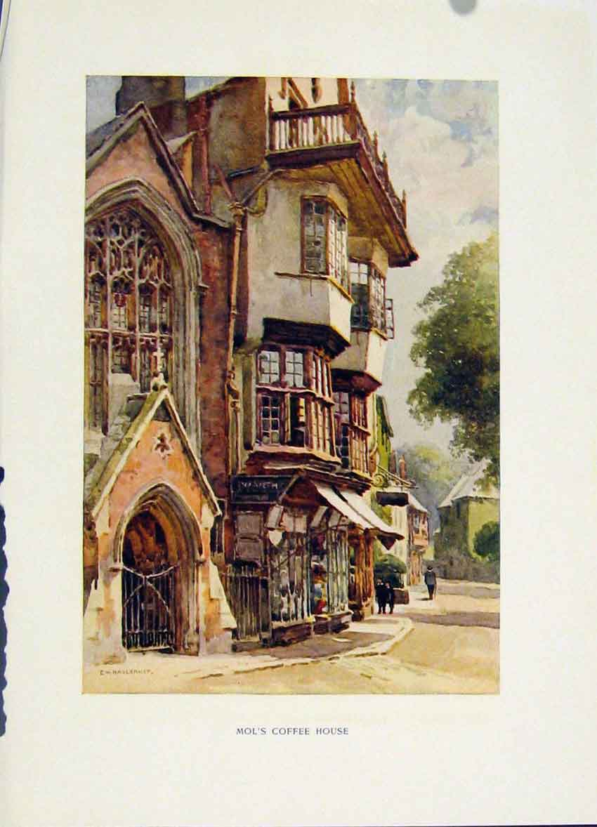 Print Mols Coffee House Exeter C1920 Painting By Haslehust 048251 Old Original