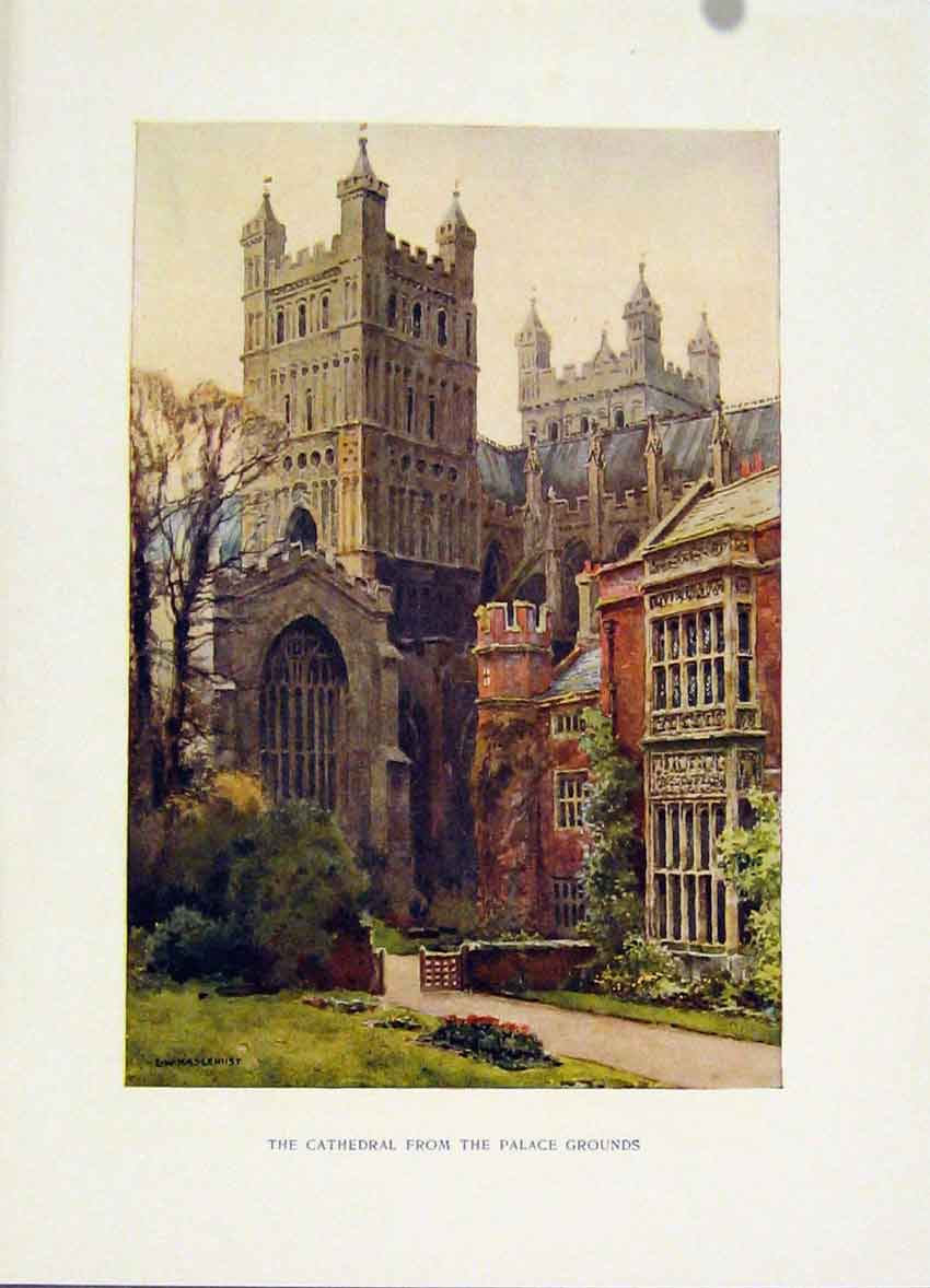 Print Cathedral Palace Grounds C1920 Painting By Haslehust 078251 Old Original