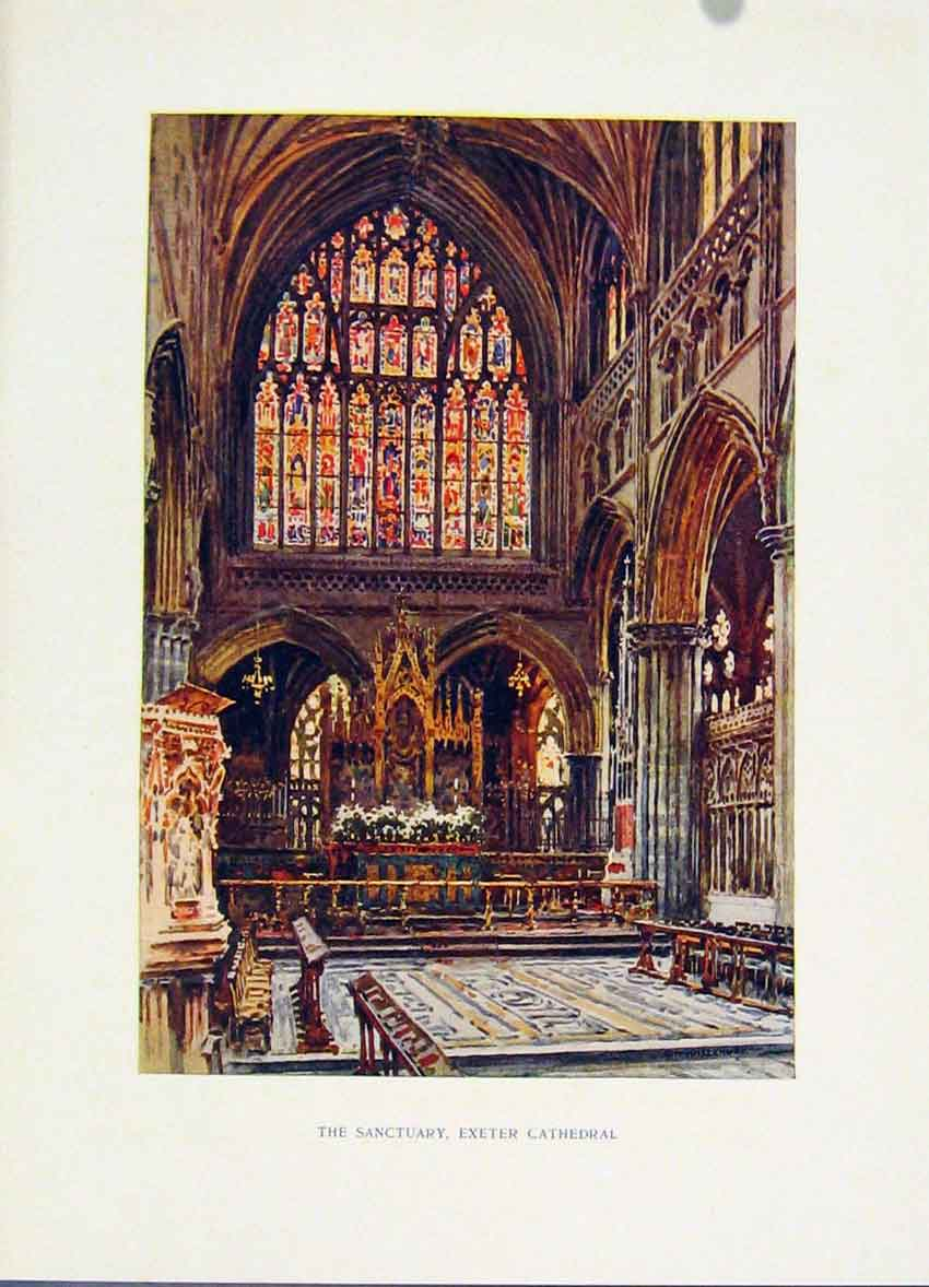 Print Sanctuary Exeter Cathedral Painting By Haslehust C1920 088251 Old Original
