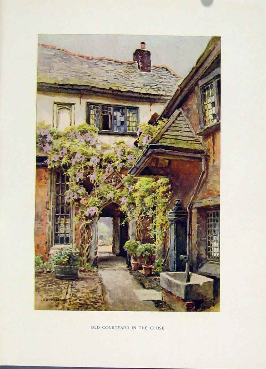 Print Exeter Courtyeard Close Painting By Haslehust C1920 098251 Old Original