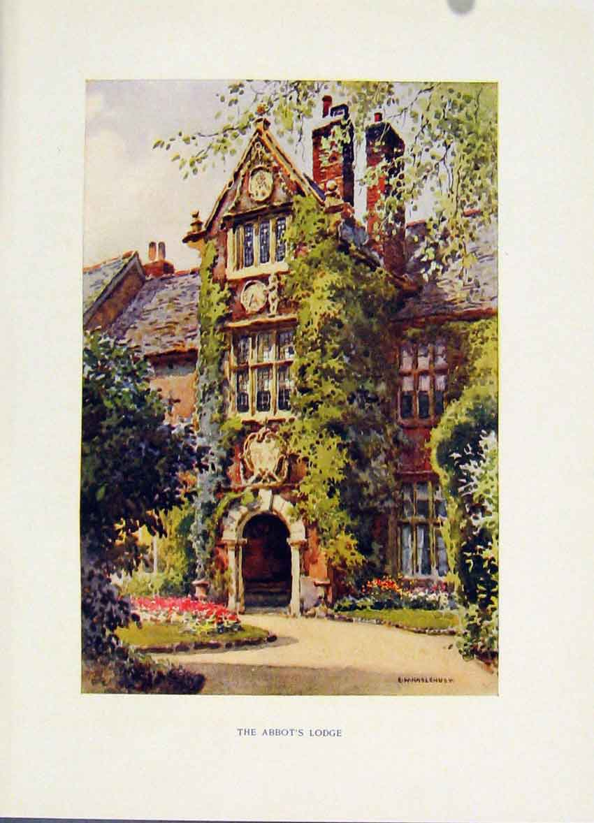 Print Painting By Haslehust C1920 Color Abbots Lodge Exeter 108251 Old Original