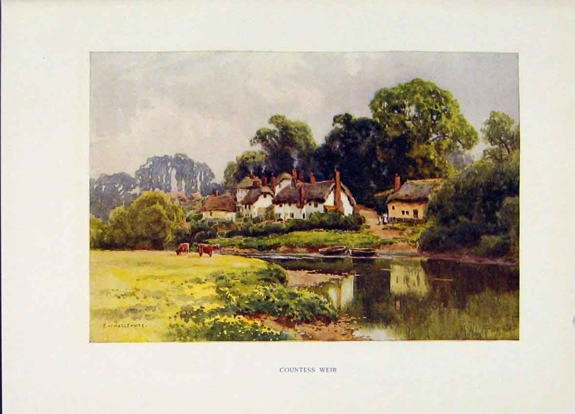 Print The Exe Countess Wier Painting By Haslehust C1920 Art 128251 Old Original