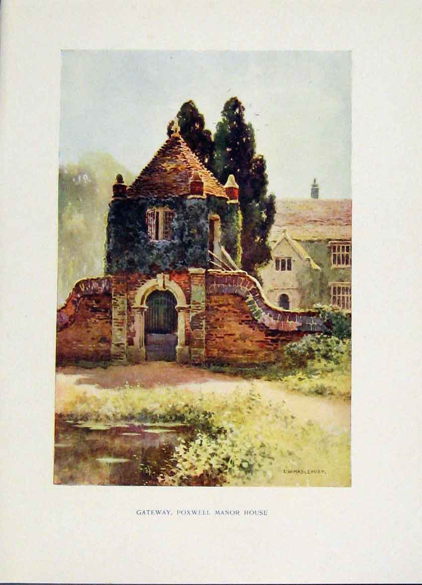 Print Gateway Poxwell Manor House Painting By Haslehust 198251 Old Original