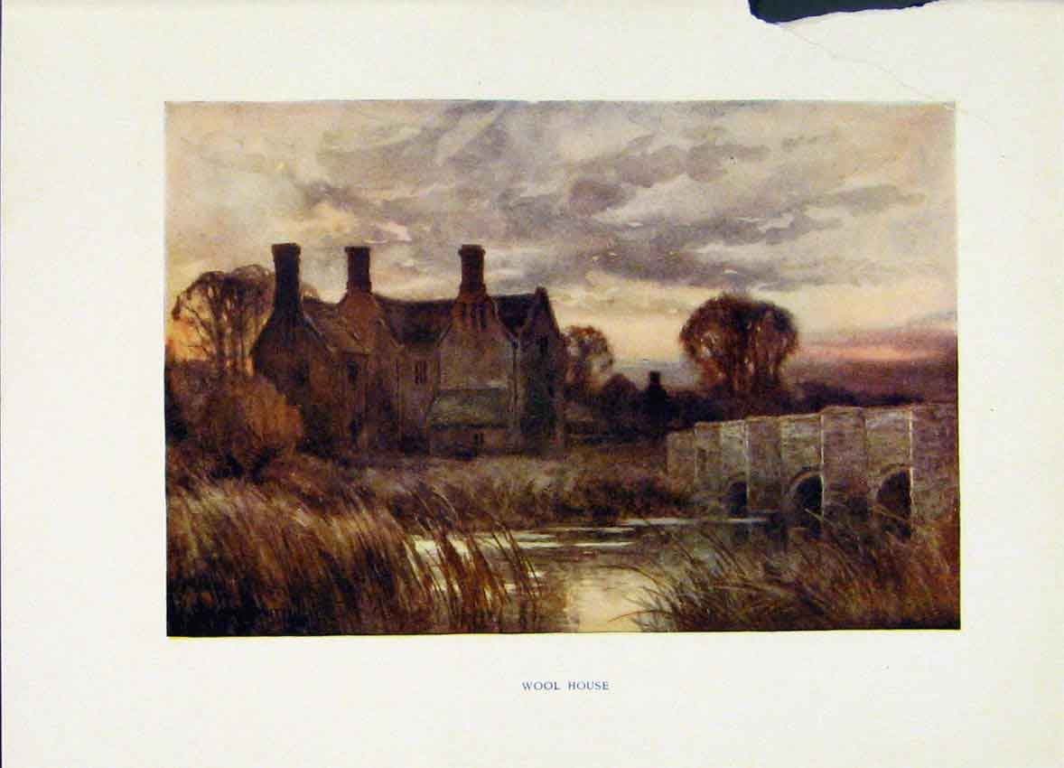 Print Painting By Haslehust Wessex Wool House C1920 Fine Art 218251 Old Original