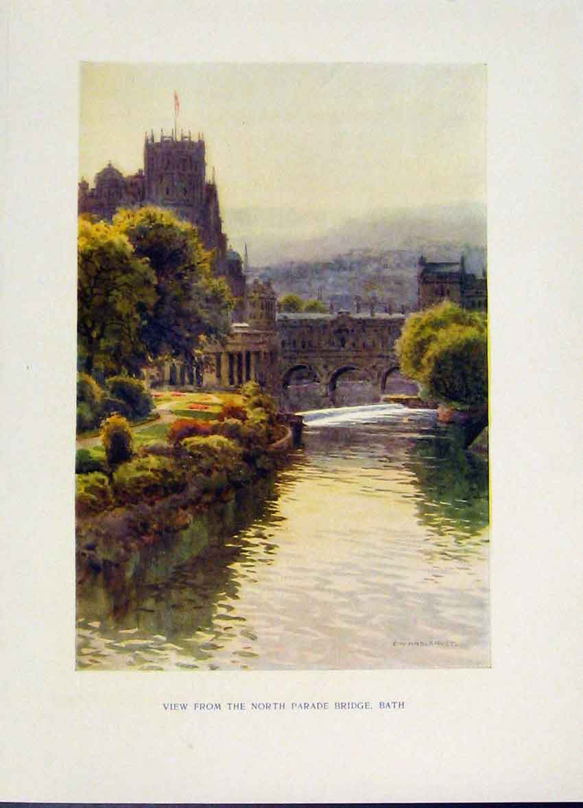 Print View From North Parade Bridge Bath Haslehust Fine Art 378251 Old Original