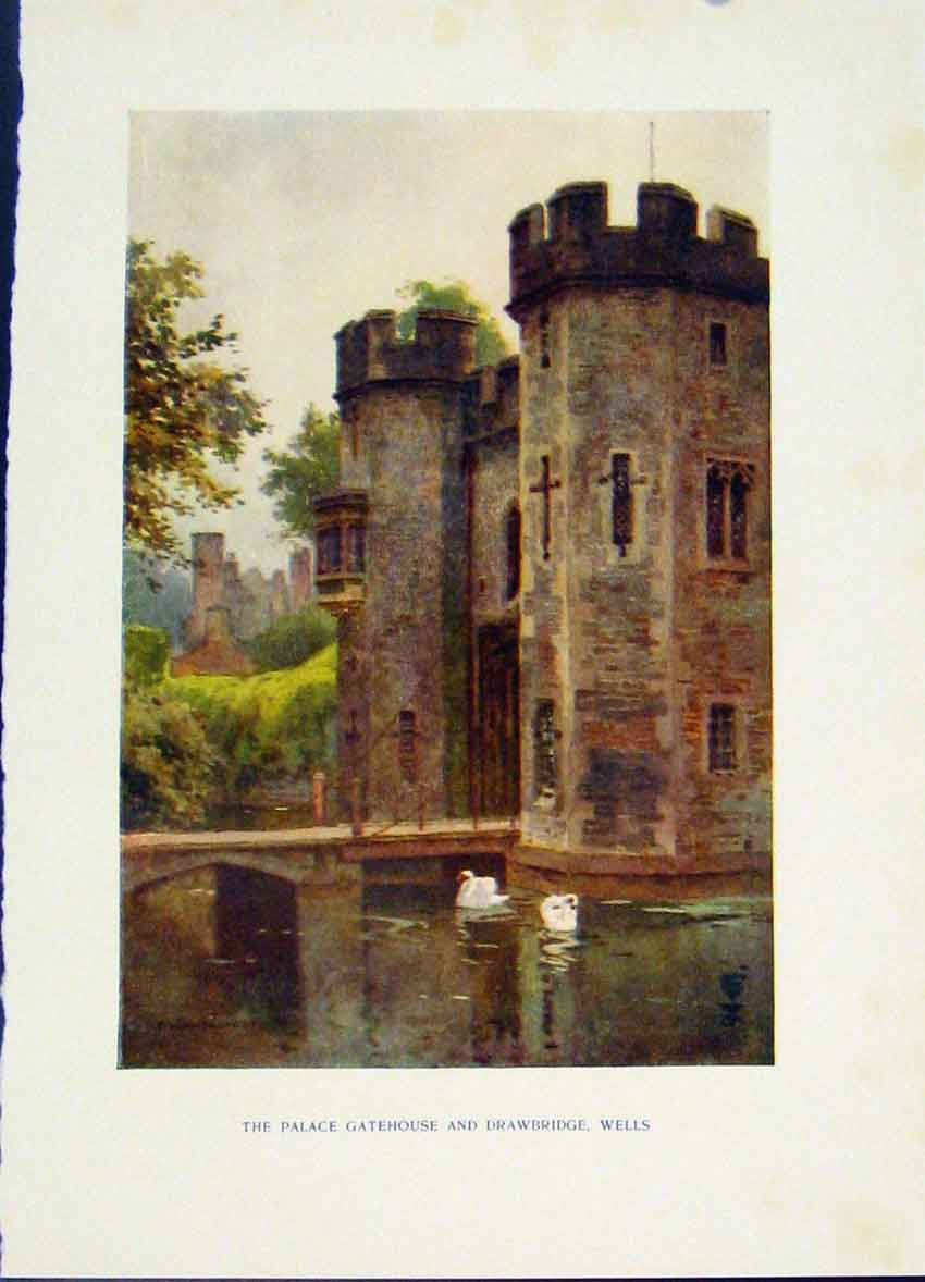 Print Palace Gatehouse Drawbridge Wells Haslehust Fine Art 458251 Old Original