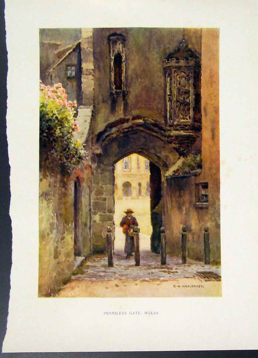 Print Penniless Gate Wells C1920 Painting By Haslehust Color 468251 Old Original