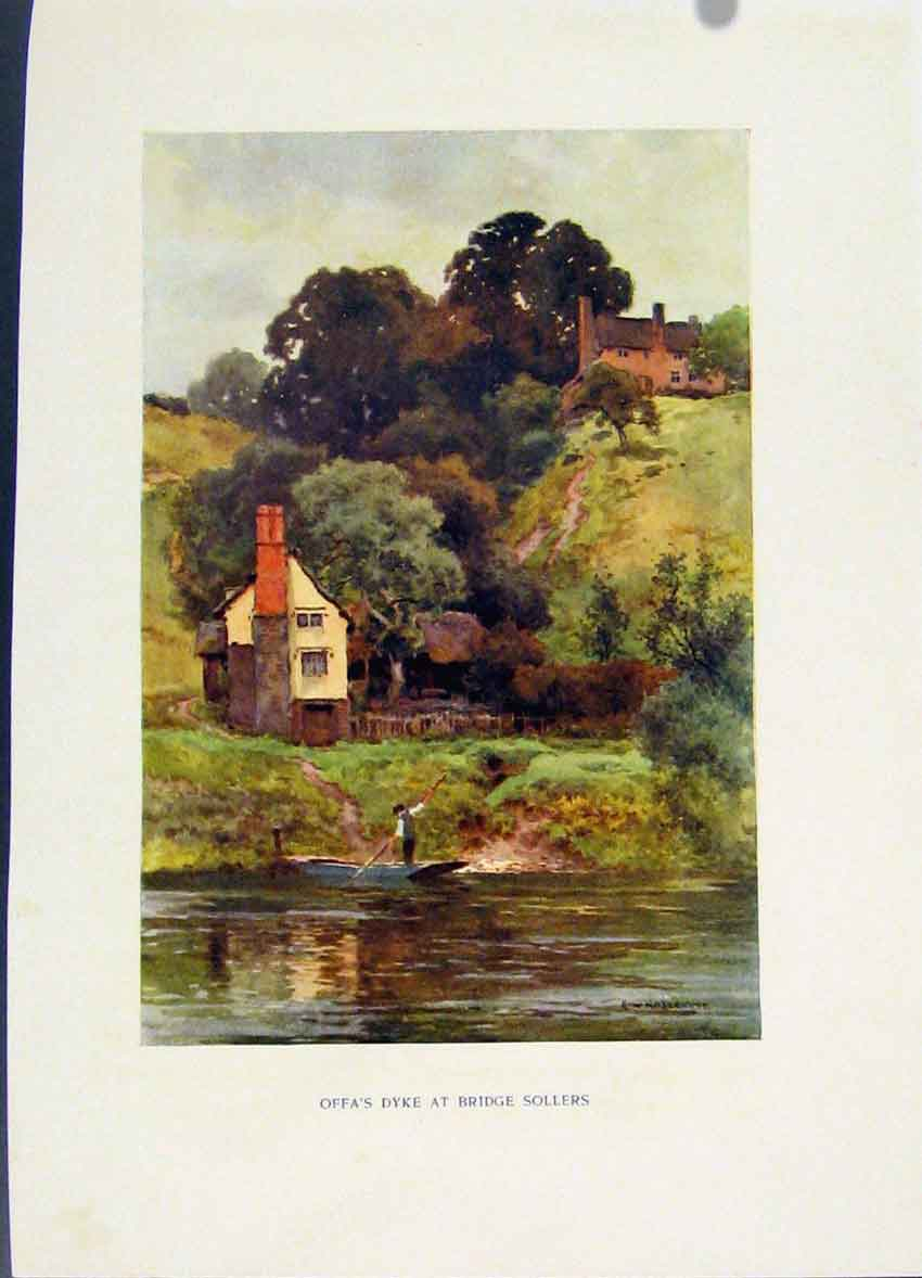 Print Fas Dyke Bridge Sollers Painting By Haslehust C1920 028251 Old Original
